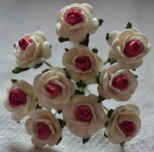 1 cm WHITE with CRANBERRY CENTER Mulberry Paper Roses
